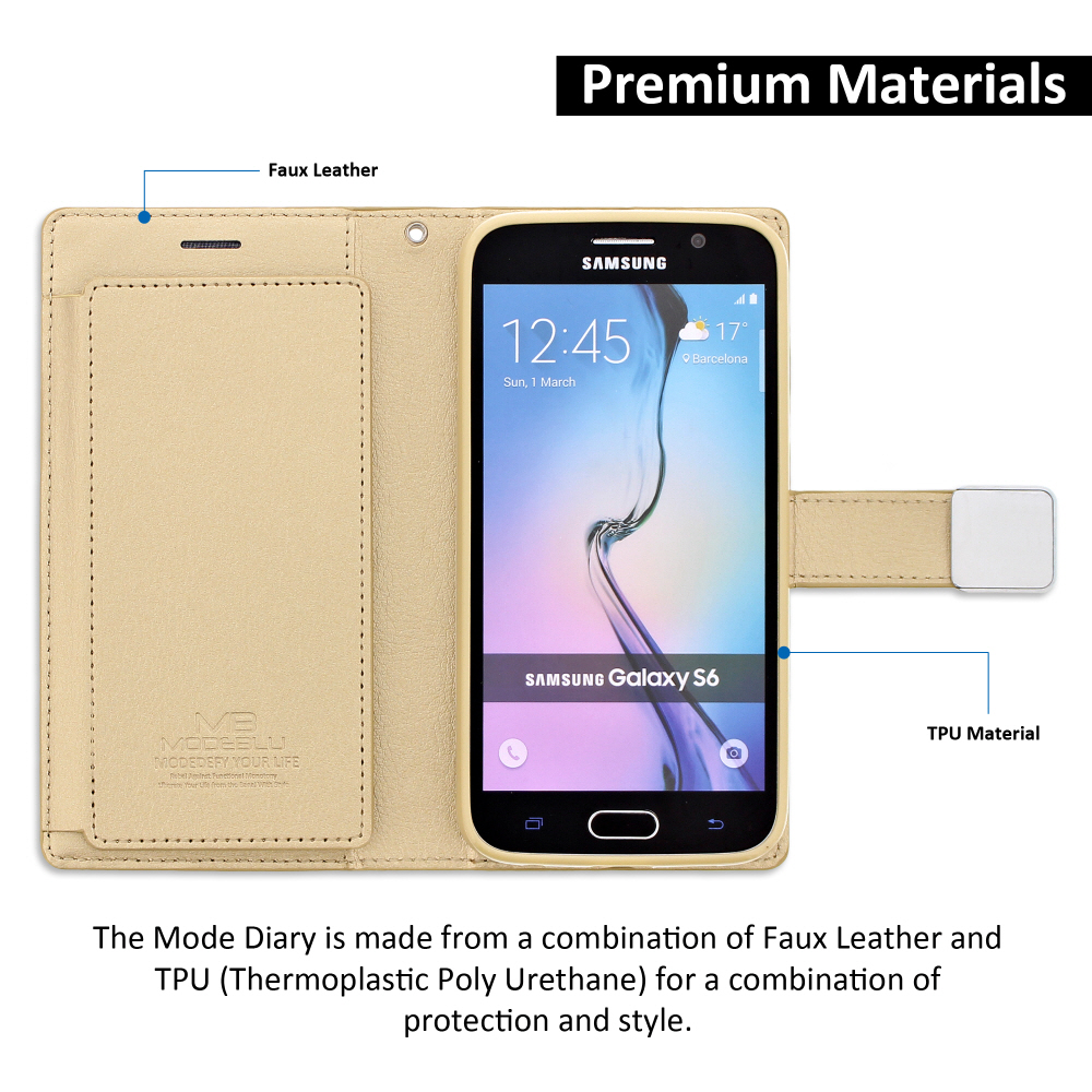 oem samsung galaxy s6 modeblu mode diary wallet case gold. Black Bedroom Furniture Sets. Home Design Ideas