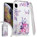 (E01) IPHONE X/XS FLOWER SPOT DIAMOND - WHITE PINK ROSES (RETAIL PACKED)