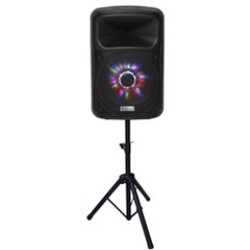 "(0-IB) IBASTEK 1x15"" RECHARGEABLE PA SPEAKER W/ WIRELESS MIC & TRIPOD"