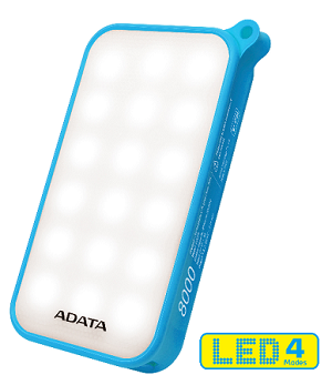 (1-WH) ADATA LED POWER BANK 8000 mAh(DUST & WATER RESISTANCE) - BLUE