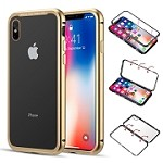 (D01) IPHONE XS MAX ALUMINUM MAGNETIC INSTANT SNAP CASE WITH TEMPERED GLASS BACK PLATE - GOLD