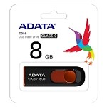 (1-WH) ADATA C008 RETRACTABLE CAPLESS USB FLASH DRIVE (RED) -  8GB