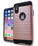 (E01) IPHONE X/XS BRUSHED METAL - ROSE GOLD