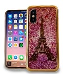 (E01) IPHONE X/XS CHROME GLITTER MOTION IMAGE - EIFFEL TOWER