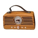 (MA) PORTABLE BLUETOOTH SPEAKER - RETRO FM RADIO BROWN WOOD