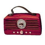 (MA) PORTABLE BLUETOOTH SPEAKER - RETRO FM RADIO DARK WOOD
