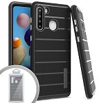 (01-NEW) SAMSUNG A21 BRUSHED LINE TEXTURE HYBRID CASE - BLACK