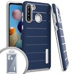 (01-NEW) SAMSUNG A21 BRUSHED LINE TEXTURE HYBRID CASE - BLUE