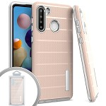 (01-NEW) SAMSUNG A21 BRUSHED LINE TEXTURE HYBRID CASE - ROSE GOLD