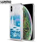 (D01) IPHONE XS MAX LUXMO PREMIUM WATERFALL SERIES FUSION LIQUID SPARKLING QUICKSAND CASE - WINTER WONDERLAND