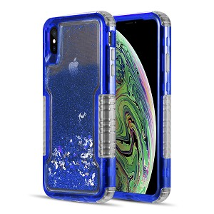 (D01) IPHONE X/XS MILITARY GRADE DUAL PROTECTIVE WATERFALL SERIES LIQUID SPARKLING QUICKSAND CASE - BLUE (BUY 5 GET 3 FREE)