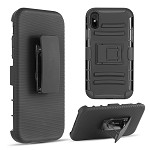 (D01) IPHONE XS MAX HYBRID HOLSTER COMBO CASE BLACK SKIN + BLACK PC WITH H-STYLE STAND - BLACK