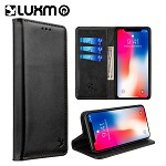 (D01) IPHONE XS MAX LUXURY GENTLEMAN MAGNETIC FLIP LEATHER WALLET CASE - BLACK