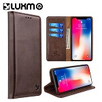 (D01) IPHONE XS MAX LUXURY GENTLEMAN MAGNETIC FLIP LEATHER WALLET CASE - BROWN
