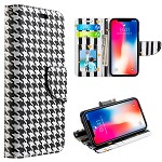 (D01) IPHONE X/XS TRNDY LEATHER FLIP WALLET CASE - HOUNDS TOOTH (BUY 5 GET 3 FREE)