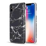 (D01) IPHONE XS MAX MARBLE SERIES IMD SOFT TPU CASE - BLACK