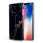 (D01) IPHONE XS MAX SPARKLING MARBLE SERIES IMD SOFT TPU CASE - BLACK