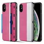 (D01) IPHONE XS MAX THE KARD DUAL HYBRID CASE WITH CARD SLOT AND MAGNETIC CLOSURE - PINK & SILVER