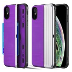 (D01) IPHONE XS MAX THE KARD DUAL HYBRID CASE WITH CARD SLOT AND MAGNETIC CLOSURE - PURPLE & SILVER