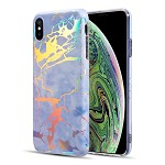 (D01) IPHONE X/XS THE LIGHTNING MARBLE IMD SOFT TPU CASE - MOONLIGHT BLUE (BUY 5 GET 3 FREE)