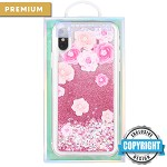 (D01) IPHONE XS MAX LUXMO PREMIUM WATERFALL SERIES FUSION LIQUID SPARKLING QUICKSAND CASE - LES PIVOINES (RETAIL PACKED)