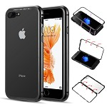 (D01) IPHONE 8 PLUS / 7 PLUS ALUMINUM MAGNETIC INSTANT SNAP CASE WITH TEMPERED GLASS BACK PLATE - BLACK