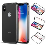 (D01) IPHONE XS MAX ALUMINUM MAGNETIC INSTANT SNAP CASE WITH TEMPERED GLASS BACK PLATE - BLACK