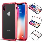 (D01) IPHONE XS MAX ALUMINUM MAGNETIC INSTANT SNAP CASE WITH TEMPERED GLASS BACK PLATE - RED