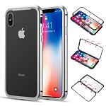 (D01) IPHONE XS MAX ALUMINUM MAGNETIC INSTANT SNAP CASE WITH TEMPERED GLASS BACK PLATE - WHITE