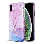 (D01) IPHONE XS MAX THE ARTISTRY COLLECTION FULL COVERAGE IMD MARBLE TPU CASE WITH GLITTER - MAGENTA
