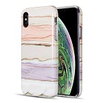 (D01) IPHONE XS MAX THE ARTISTRY COLLECTION FULL COVERAGE IMD MARBLE TPU CASE WITH GLITTER - PASTEL BLISS