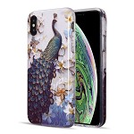 (D01) IPHONE XS MAX THE ARTISTRY COLLECTION FULL COVERAGE IMD MARBLE TPU CASE WITH GLITTER - PEACOCK DIVINE