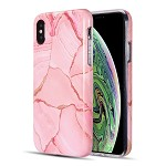 (D01) IPHONE XS MAX THE ARTISTRY COLLECTION FULL COVERAGE IMD MARBLE TPU CASE WITH GLITTER - ROSY MARBLE