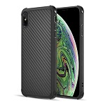 (D01) IPHONE XS MAX THE CARBON FLEX TRANSPARANT SOFT TPU COVER CASE WITH SHOCK ABSORB CORNERS - BLACK