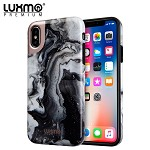 (D01) IPHONE XS MAX LUXMO PREMIUM MARBLICIOUS COLLECTION MARBLE SHINE DESIGN UV COATED TPU CASE - BLACK SWIRL MARBLE