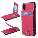 (D01) IPHONE XS MAX THE SAFFIANO DENIM SCRATCHPROOF WALLET CARD CASE - HOT PINK