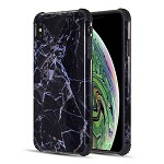 (D01) IPHONE XS MAX THE TOUGH CORNERS UV COATED TPU CASE WITH FULL COVER PRINTED DESIGN - BLACK GEMSTONE
