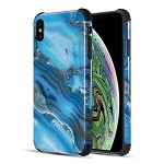 (D01) IPHONE XS MAX THE TOUGH CORNERS UV COATED TPU CASE WITH FULL COVER PRINTED DESIGN - BLUE GEMSTONE