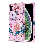 (D01) IPHONE XS MAX THE TOUGH CORNERS UV COATED TPU CASE WITH FULL COVER PRINTED DESIGN - ROSE BLOSSOM