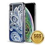 (D01) IPHONE XS MAX THE WATERFALL LIQUID SPARKLING QUICKSAND TPU CASE - BLUE LACE