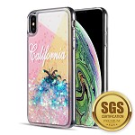 (D01) IPHONE XS MAX THE WATERFALL LIQUID SPARKLING QUICKSAND TPU CASE - CALI SUNSHINE