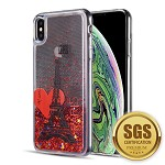 (D01) IPHONE XS MAX THE WATERFALL LIQUID SPARKLING QUICKSAND TPU CASE - ROMANCE IN PARIS