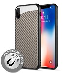(D01) IPHONE XS MAX THE CARBON METALLIC FUSION CANDY CASE TPU WITH CARBON FIBER FINISH - GREY
