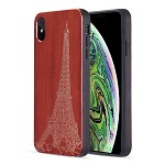 (D01) IPHONE XS MAX THE TIMBER REAL WOOD SERIES FUSION TPU CASE WITH DARK ROSE WOOD TRIM - BONJOUR PARIS