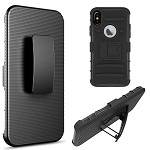 (D01) IPHONE X/XS HYBRID CASE BLACK SKIN + BLACK PC WITH H STYLE STAND (BUY 5 GET 3 FREE)