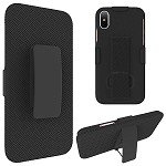 (D01) IPHONE X/XS SNAP ON CASE SKEW PC WITH HOLSTER COMBO BLACK (BUY 5 GET 3 FREE)