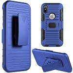 (D01) IPHONE X/XS MAG-DEFENDER HYBRID HOSLTER COMBO CASE WITH MAGNET STAND - BLUE (BUY 5 GET 3 FREE)