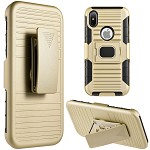 (D01) IPHONE X/XS MAG-DEFENDER HYBRID HOSLTER COMBO CASE WITH MAGNET STAND - GOLD (BUY 5 GET 3 FREE)