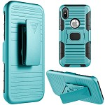 (D01) IPHONE X/XS MAG-DEFENDER HYBRID HOSLTER COMBO CASE WITH MAGNET STAND - TEAL (BUY 5 GET 3 FREE)