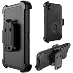 (D01) IPHONE XS MAX THE ANTI-SHOCK HOLSTER COMBO CASE WITH STAND BLACK SILICONE SKIN + BLACK PC